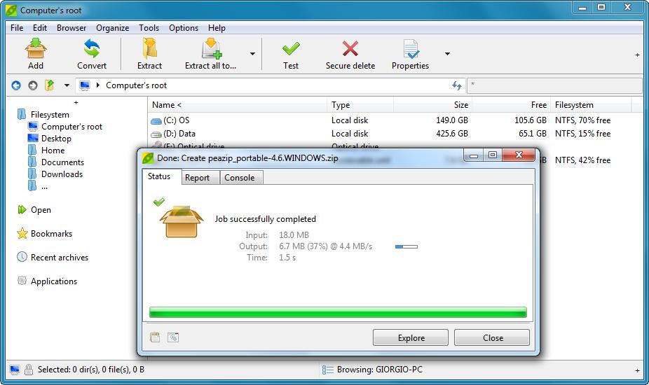 PeaZip 4.6  arşivleme programı Peazip