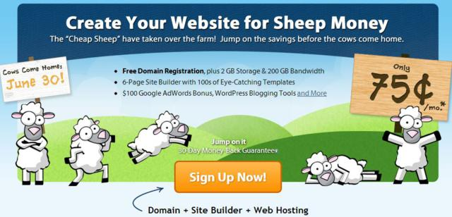 Only 75 Cents/ month for FatCow hosting