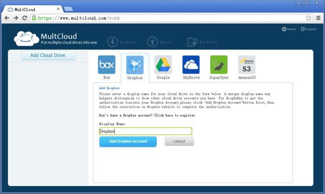 MultCloud Interface