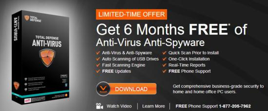 FREE Total Defense Anti-Virus for 180 days - 2013