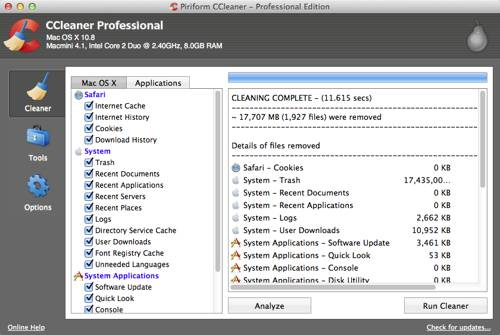 ccleaner for mac screenshot