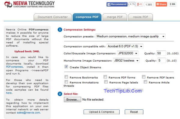Neevia compress pdf is a free Online pdf tool