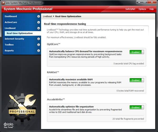Screenshot of LiveBoost Technology - System mechanic