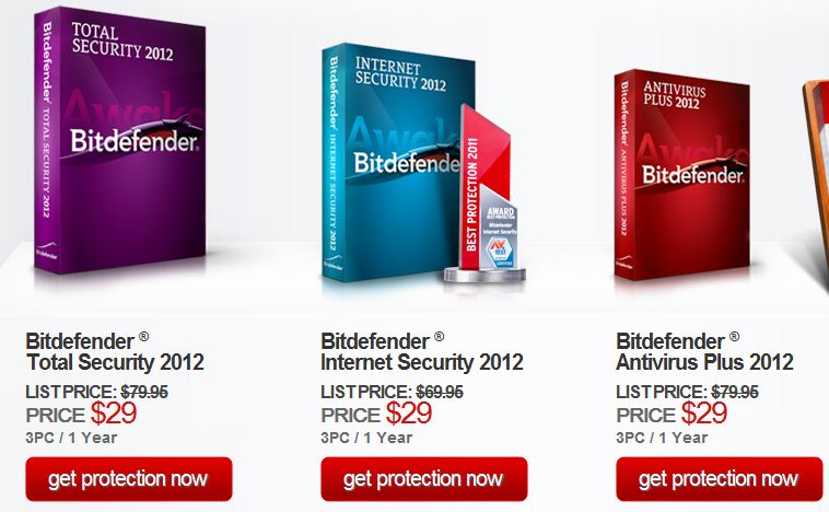 Single price $29 for any award winning product of Bitdefender
