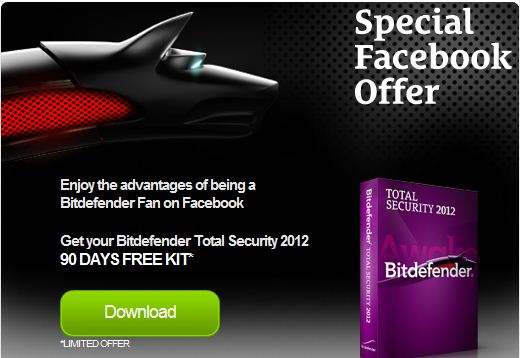 Get your Bitdefender Total Security 2012 90 DAYS FREE KIT*