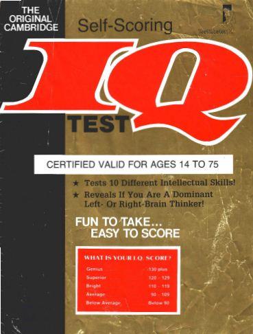 Cambridge Self Scoring IQ Test-Free download eBook IQ Tests - Part 1