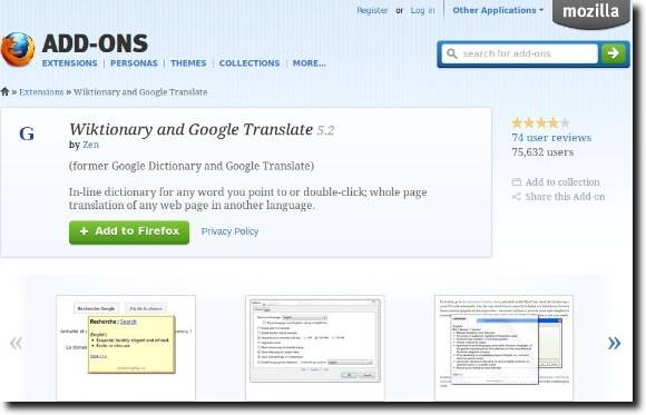 Get Foreign Word Translations (plus Definitions) In Firefox