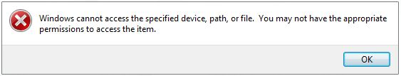 How to fix error: Windows cannot access the specified device, path or file... 1