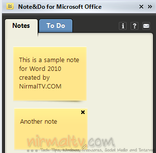 Notes and To Do Add-in for Office 2010- Note&Do