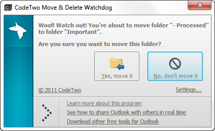Monitor Outlook Folders for Deletion using CodeTwo Move & Delete Watchdog