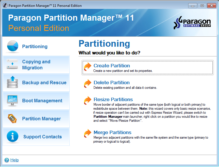 Paragon Partition Manager 11 Personal SE