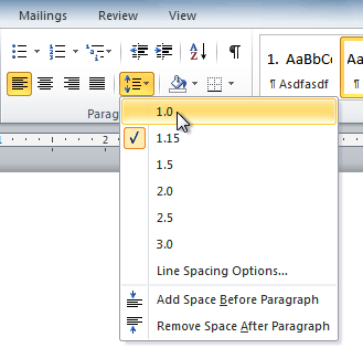 How to use Line and Paragraph Spacing in word 2010