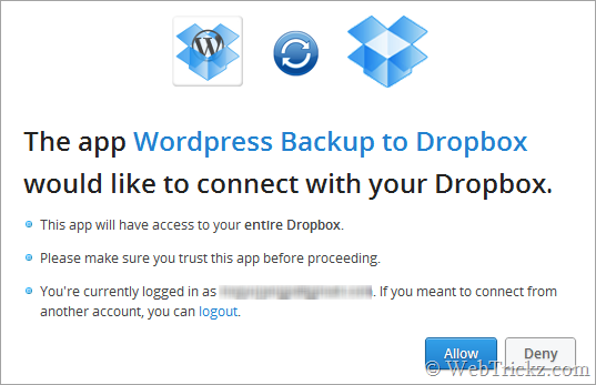 Backup WordPress Dropbox 1