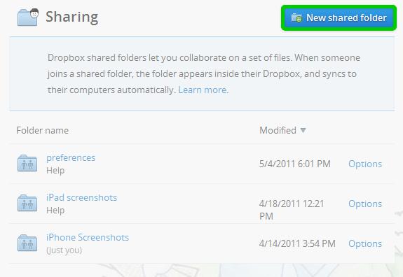 share folder on Dropbox 1