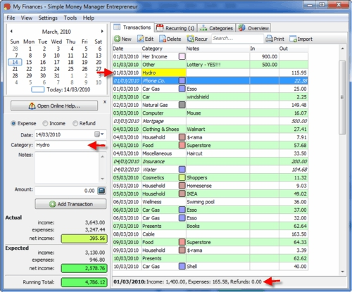Simple Money Manager, Bank Statement, password protection, utilities