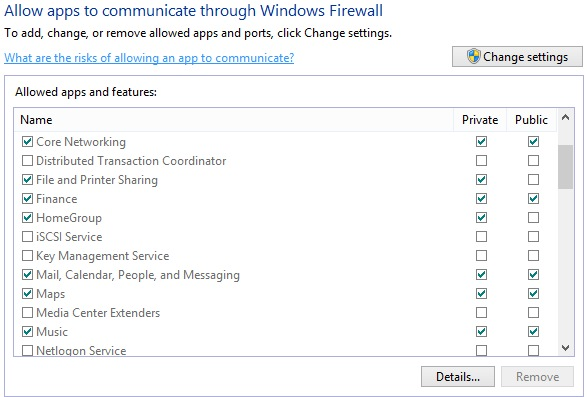 how to allow a program through firewall windows 8