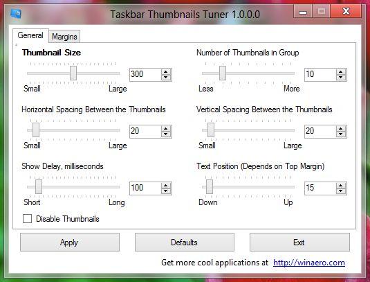 Taskbar Thumbnails Tuner