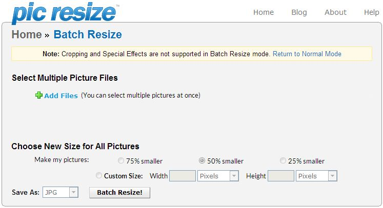 How to resize multi pictures online with Picresize com