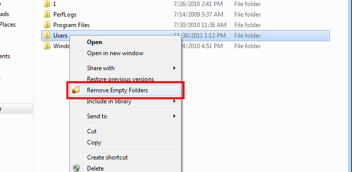 freeware, utilities, clean empty folder