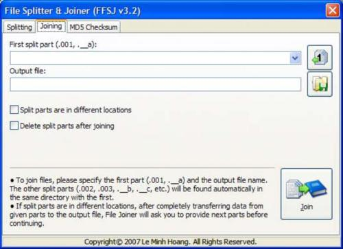 freeware, file splitter, file joiner, utilities