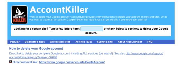 delete online account, useful website,