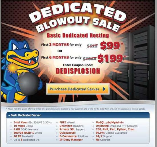 Hostgator Basic Dedicated Servers promotion