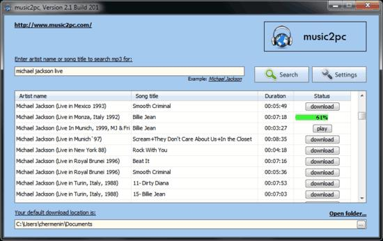 Music2PC - Find and download mp3 song