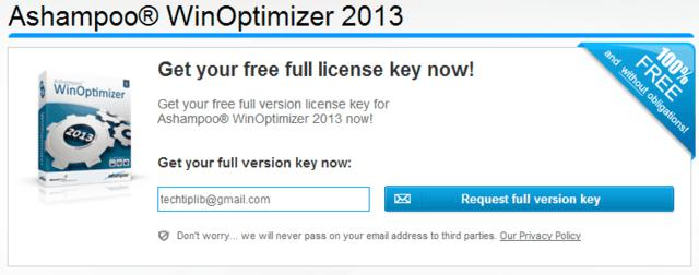 Register FREE Ashampoo Winoptimizer 2013