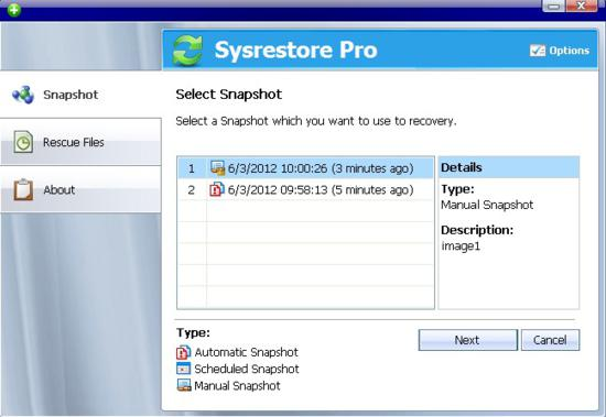 SysRestore Pro screen