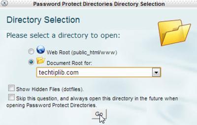 choose directories - Password Protect Directories