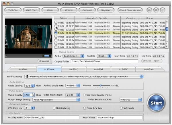 MacX iPhone DVD Ripperfor Mac screenshot