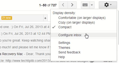 Select which tabs to show or hide in Inbox of Gmail 2