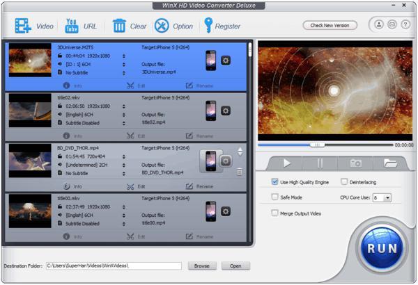 WinX HD Video Converter Deluxe V4.0.0
