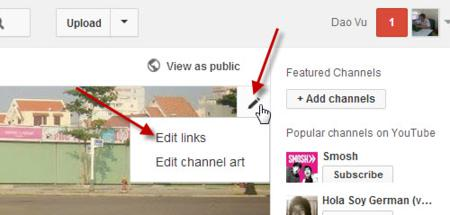 Edit your links in Youtube channel