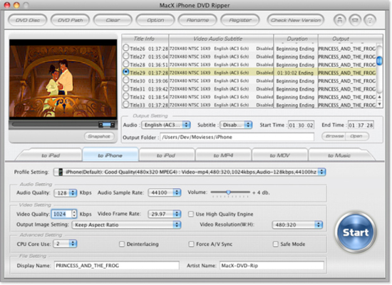 MacX iPhone DVD Ripper screenshot