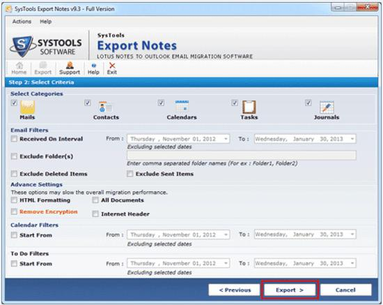 SysTools Export Notes screenshot