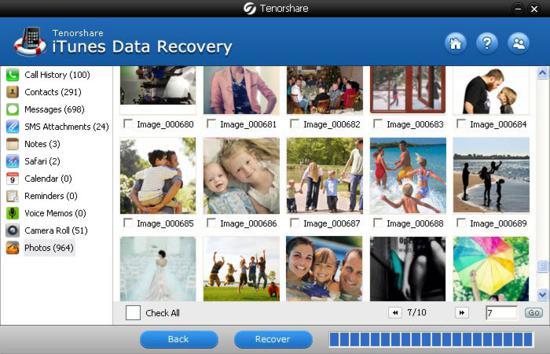 Tenorshare iTunes Data Recovery main