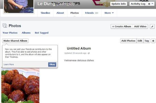 make shared album in Facebook