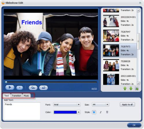 Slideshow edit with Aimersoft DVD Creator