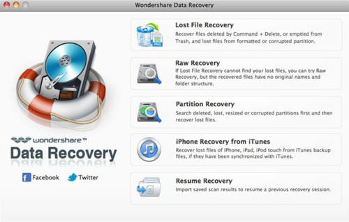 Wondershare Data Recovery for Mac screenshot 1