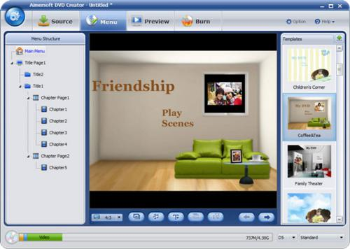 customize DVD menu with Aimersoft DVD Creator