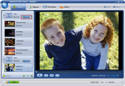 how to add files in Aimersoft DVD Creator