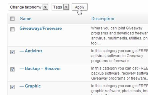 Converter categories to tags