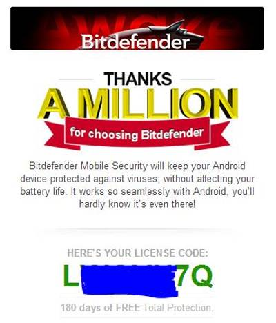 Email to get license key of Bitdefender Mobile Security for Android