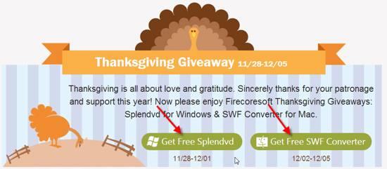 Firecoresoft Thanksgiving Giveaways 2013