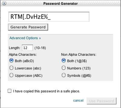 The Password Generator with advanced options