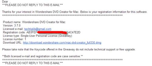email Wondershare DVD creator for Mac 11.2013