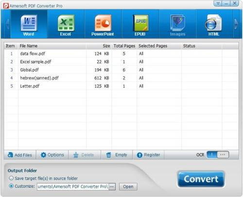 Aimersoft PDF Converter Pro with OCR screenshot