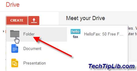 Create folder in Google Drive on web 2
