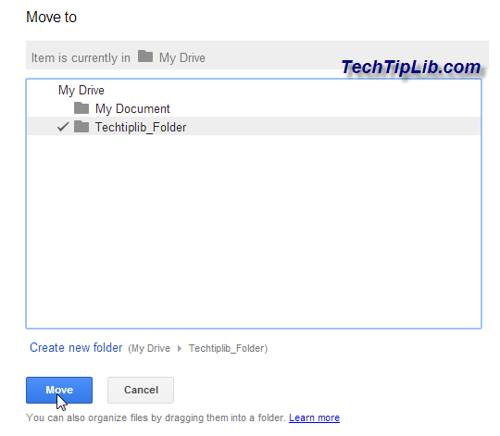 Move folder in Google Drive on web 2